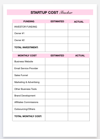 startup cost template