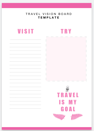 travel vision board template