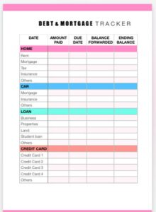 money management: debt and mortgage tracker