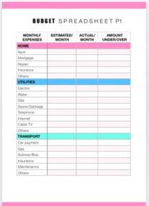 money management- budget spreadsheet