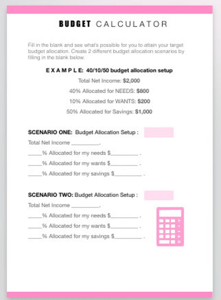 monthly budget template